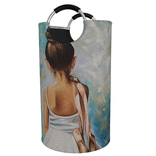 Sunmuchen Cesta para la colada de ballet, impermeable, grande, organizador para ropa, juguetes, dormitorio, baño, con asas de aluminio