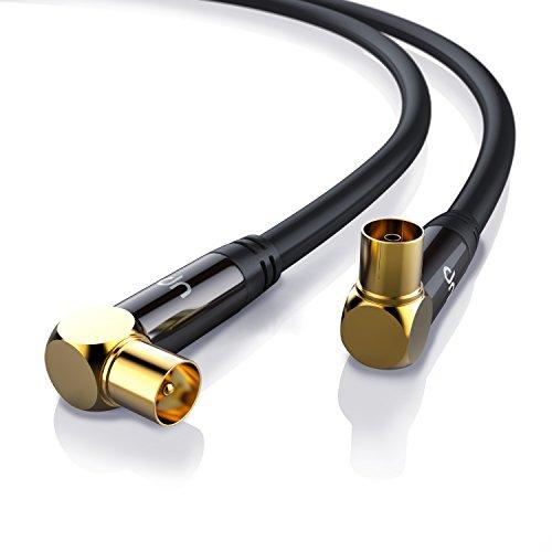 Uplink - 10m 135dB HDTV Antennenkabel 75 Ohm 90° gewinkelt - Premium Koaxialkabel - Koax Stecker - DVB-T DVB-T2 Radio UKW DAB DAB - Vollmetallstecker - Abschirmmaß 135dB - 4-fach Schirmung