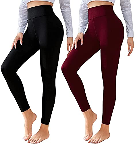 CTHH 2 Pack Leggings for Women-High Waisted Tummy Control Workout Running Black Yoga Pants