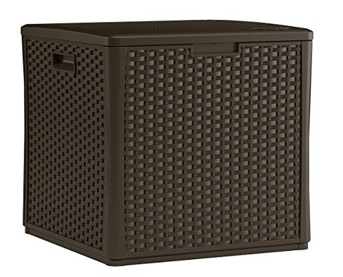 Suncast 60Gallon Medium Deck Box  Lightweight Resin Indoor/Outdoor Storage Container and Seat for Patio Cushions and Gardening Tools  Store Items on Patio Garage Yard  Java