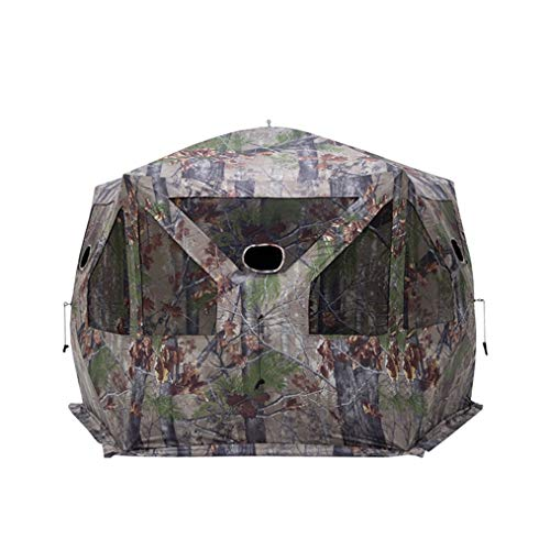Barronett Blinds Large Durable Pentagon Ground Deer Hunting Blind Tent with Multiple Low Profile Windows and Gun Ports, Blood Trail Camo