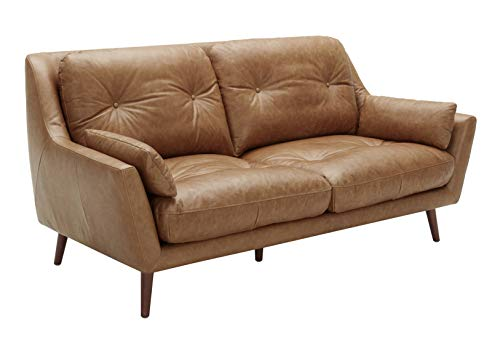 "Amazon Brand – Rivet Brooker Down-Filled Mid-Century Sofa, 76""W, Top Grain Leather, Cognac"