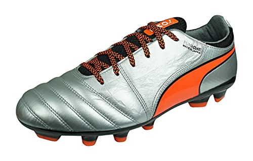 PUMA One J 2 HG Men's Leather Soccer Cleats-Silver-9.5