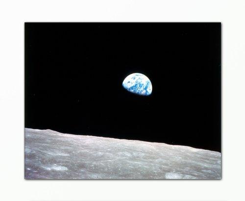 Berger Designs Bild Foto (Moon Earth 40x50 cm) Bild auf Leinwand als Kunstdruck mit Rahmen aus Holz. Bild Motive (Mond Erde Planeten Weltraum) .100% Made in Germany - Qualität aus Deutschland.