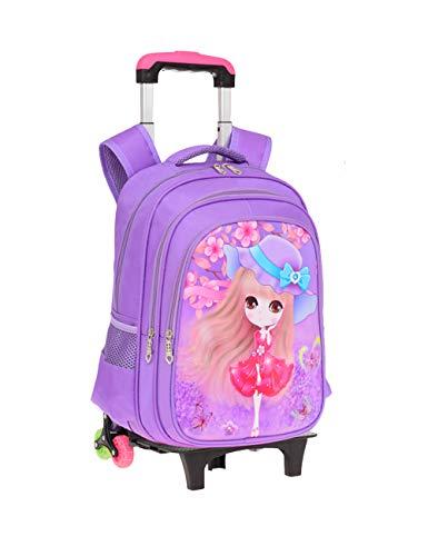 Kinderrugzak met Zes Wielen Koffer met Wieltjes Rugzak Schooltassen voor Meisjes Kinderen Reis Rugzak Koffer Handbagage met Wielen