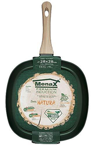 Menax Natura - Asadora - Aluminio Forjado - 5 Capas Antiadherente - Full Inducción - 28 x 28 cm - Verde Esmeralda - Diseñado en España