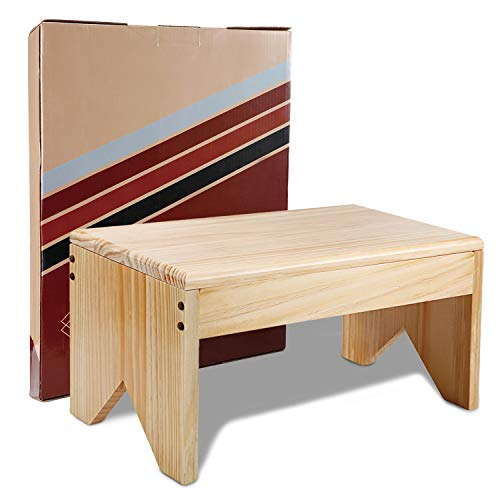 Wooden Step Stool for Adults - Very Sturdy, Bed Stool for High Beds, Kitchen, Bathroom, Closet. Great Wood Step Stool for Adults. Made Lightweight Quality Eco Pine, Attractive & Easy to Assemble (15)