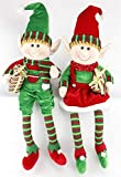 Craig Bachman Set of 2 Fabric Elf Shelf Sitters (Red, Green, 32')