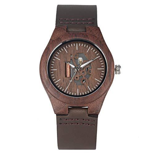 Café Marrón Amantes Reloj de Madera Artes Creativas Hueco Pareja Reloj Casual Relojes de Cuero para Hombres Relojes de Pulsera para Dama Regalo LadySize