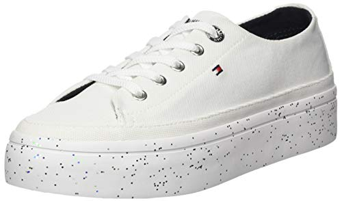 Tommy Hilfiger Damen Glitter Flatform Sneaker, Weiß (White Ybs), 38 EU