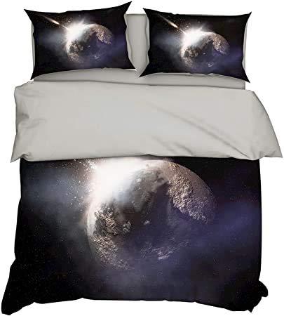Ropa de Cama Funda Nórdica Blanco Azul Negro Verde 3D Cielo Estrellado Galaxy Planet Swirl Impresión Colcha con Cremallera + Funda de Almohada (color2,Double Size 200x200 cm)