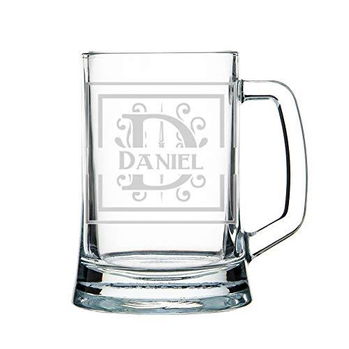 Jarra de cerveza personalizada, jarra de cerveza pintada, grabada: monograma, iniciales, nombre: vidrio pesado 1 kg