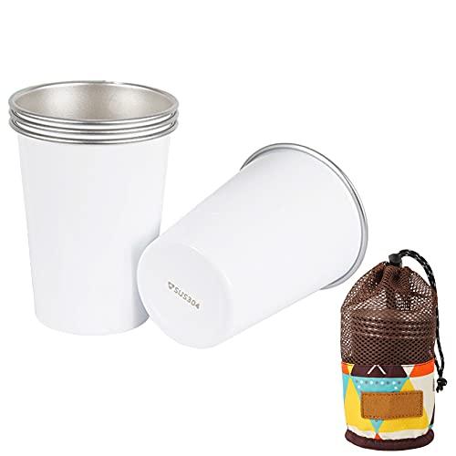 Paquete De 4 Vasos De Acero Inoxidable (350 Ml), Vasos Portátiles Apilables Para Bebidas Frías Para Cerveza De Jugo Con Bolsa De Transporte De Malla Para Picnic Al Aire Libre Para Acampar,Blanco