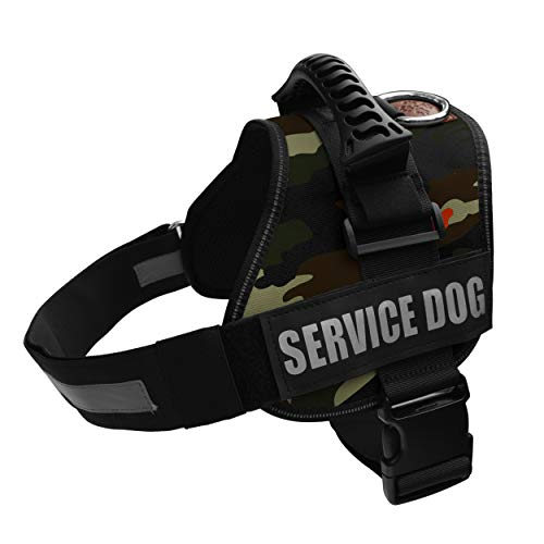Albcorp Service Dog Vest Harness - Reflective - Woven Nylon, Adjustable Service Animal Jacket, with 2 Hook and Loop Removable Patches Large, Green Camo