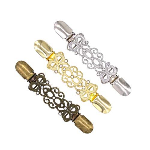 TENDYCOCO Clips de suéter de 3 Piezas para Mujer Aleación Creativa Cárdigan de Diamante Hebillas de conexión Clips de Collar (Dorado, Plata Antigua y Bronce Antiguo)