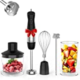 Immersion Blender, HOPVISION 1000W 12-Speed Hand Blender, 5-in-1 Hand Blender Set with Turbo Mode, Includes Stainless Steel Stick Blender, 500ml Chopper, 600ml Beaker, Milk Frother and Whisk, BPA-Free