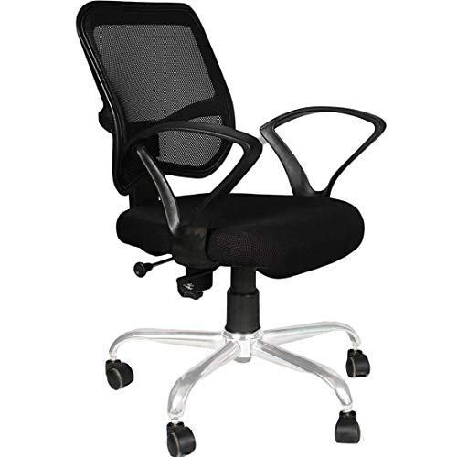 VIZOLT ;Simply Comfort! Noella Office Revolving Desk Chair with Chrome Base with XW Handle (Black)