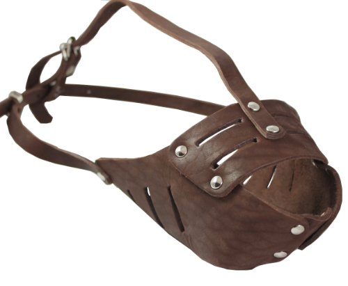 "Real Leather Cage Basket Secure Dog Muzzle #118 Brown - Pit Bull, Amstaff (Circumference 11.8"", Snout Length 3.5"")"