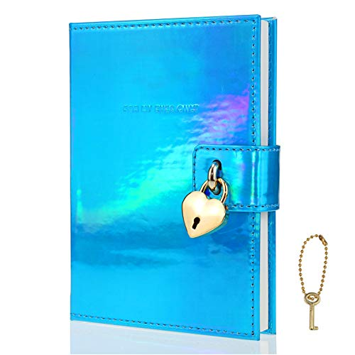 Mazeran Heart Shaped Lock Journal, Handmade Laser PU Hard Cover Notebook Travel Diary, B6 Lined Locking with Key Personal Planner Secret Organizers Gift for Girls Women Daughter