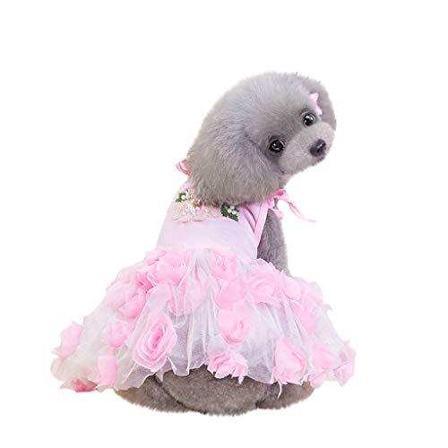 Xmiral Tutu Abiti per Cani di Piccola Taglia Animale Domestico Cucciolo Carino Cane Vestiti Abiti Femmina Abito Eleganti Pet Abbigliamento Carnevale Matrimonio Cerimonia Fantasia Floreale S Rosa