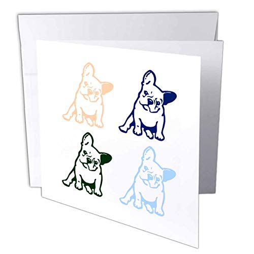 3dRose 3dRose Gabriella B - Quote - Image of Four French Bulldogs - Greeting Cards (gc_290950_2)