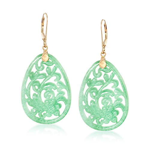Ross-Simons Carved Jade Floral Drop Earrings in 14kt Yellow Gold