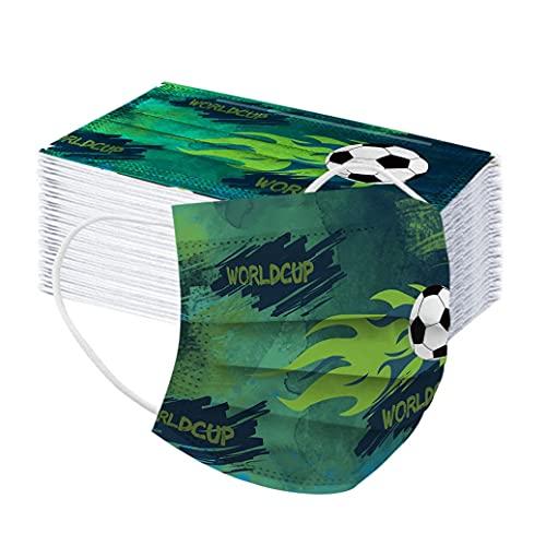MaNMaNing Mascarillas Niños Infantil, Impresión de fútbol, 50 Unidades con Elástico para Los Oídos