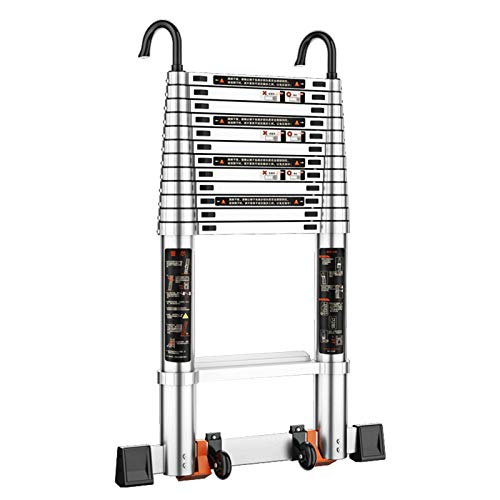 WSHA Escalera telescópica de Aluminio Escalera Plegable de extensión portátil de 8.2 pies con Gancho Giratorio de 360 ° Pies Antideslizantes, para Interiores y Exteriores