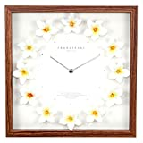 ハワイアン雑貨 インテリア ハワイ雑貨 ハワイアン 掛け時計 クロック プルメリア時計(ホワイト/イエロー) ナチュラル(枠)