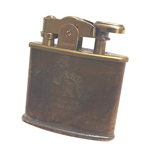 Ronson Standard Steampunk Design Oil Lighter Japanese Made in Japan Wild Brass