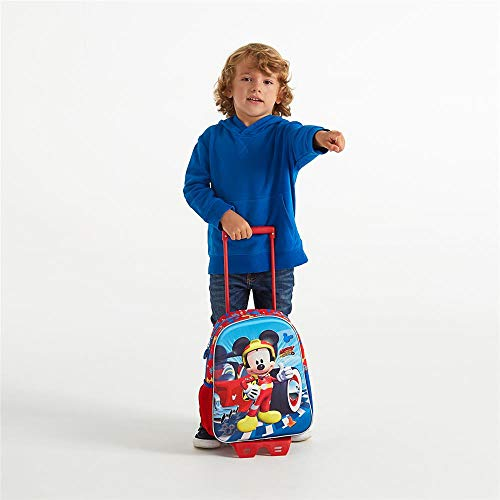 Mickey Winner Preschool Backpack, 33 cm with Trolley And Front Part In 3D