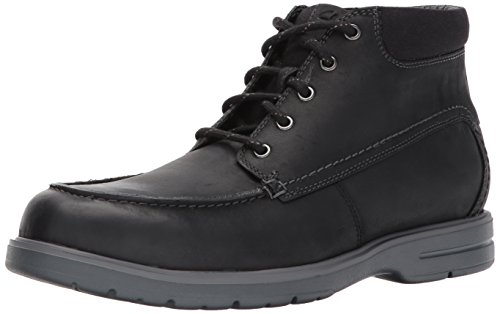 Clarks Men's Vossen Mid Chukka Boot, Black Leather, 8.5 M US
