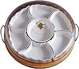 WQF Bandeja de cerámica para Servir, Bandeja para Servir Dividida con 7 Platos extraíbles, Bandeja giratoria para Frutas con Tapas y Bandeja, para Patatas Fritas y Salsa, Verduras, Dulces y