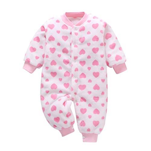 Grenouillères Combinaison Garçon Fille Ensemble de Pyjama Unisexe Bébé Barboteuses Hiver,Coton Ensembles de Vêtements pour Bébés Bodys à Manches Longue Jumpsuit Coat Outfits (12-18Mois, Rose)