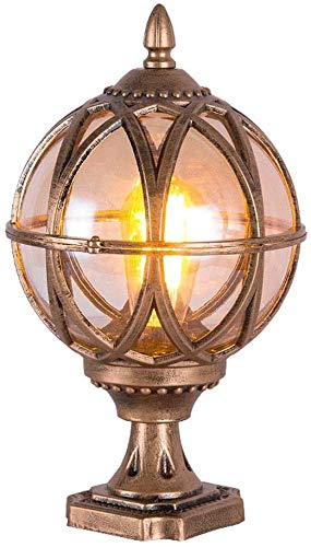 Lámpara De Pared Simple Y Fresca Estilo Europeo Globo de estilo victoriano tradicional columna de luz de la linterna impermeable al aire libre pilar E27 Post Street Lámparas de cristal de aluminio bol