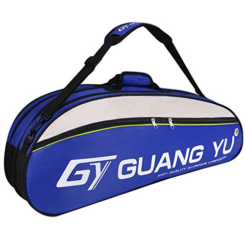 YJZQ Team 6 Racket Bag Tennis Badminton Racquetball Pack Bag GYM Euipment Bag Duffle Shoulder Carry Bag with Shoes Storage (Blue)