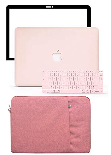 LuvCase 4 in 1 LaptopCase forOld MacBook Pro 13' (CD Drive, 2008-2012) A1278HardShellCover, Sleeve, Keyboard Cover & Screen Protector (Rose Quartz)