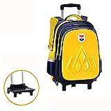 GNNHY Cartoon Rollen-Rucksäcke für Kinder, Schule mit Rollen Reisetasche Rucksack für Mädchen Kinder-Trolley-Tasche Kinder-Rucksack mit 2 Rädern,Yellow