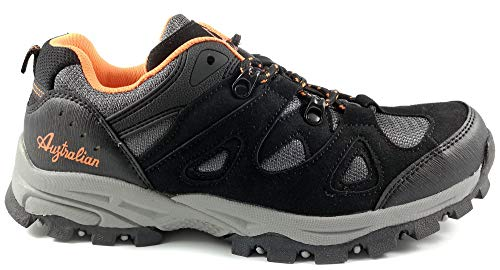 Australian Scarpe Uomo Trekking Escursione Sportive Outdoor Antiscivolo AU576 (40, Black Orange)