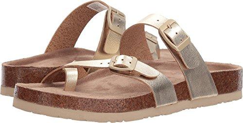 Skechers Women's Granola-Hippie Sole-Double Buckle Toe Thong Flip-Flop, Gold, 6 M US
