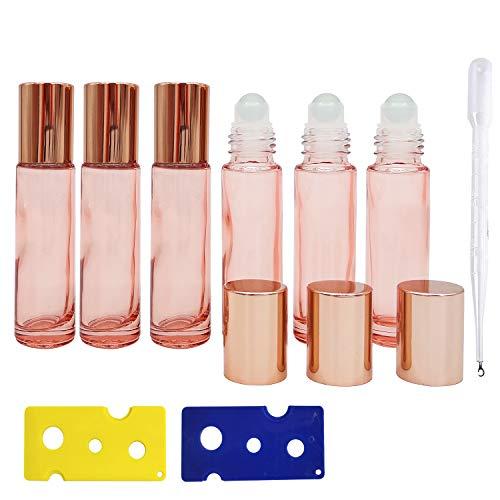 Botella de Aceite Esencial 6 Piezas, Botella de Vidrio Rosa de 10 ml con sacacorchos de Esfera de Vidrio Esmerilado de 2 Piezas, con gotero y Embudo