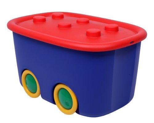 Ondis24 Spielzeugaufbewahrungsbox Spielzeugkiste Aufbewahrungsbox Kinder Spielzeugbox Funny mit großen Rädern und aufliegendem Deckel, rot blau