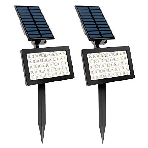Exterior Jardin Focos Solares, T-SUN 2 Pack 50 LED Luz de Paisaje al Aire Libre con 2 Modos de Iluminación Opcionales, Brillo Alto, 180° Iluminación Ajustable para Césped,Carril,Patio. (Blanco 6000K)