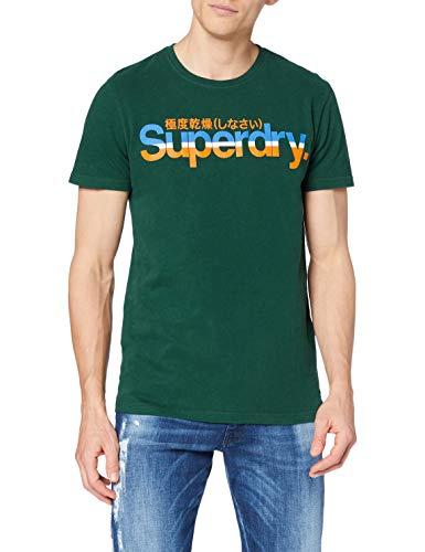 Superdry Cl Vintage Stripe tee Camiseta, Mid Pine, XL para Hombre