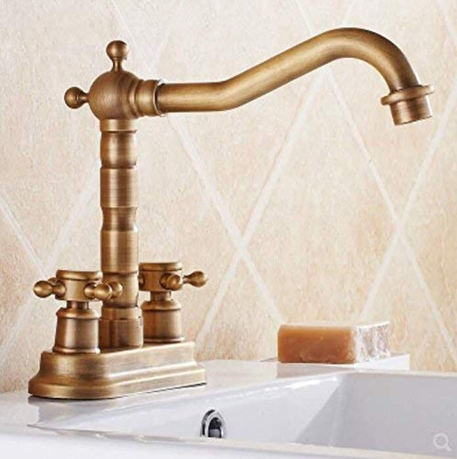 Oudan All Copper Antique Dual Basin Basin Head Basin, European Style Double Double Hole Hot and Cold Water Faucet, redary Ceramic Disc Spool Ribbon Hose. (color   -, Size   -)