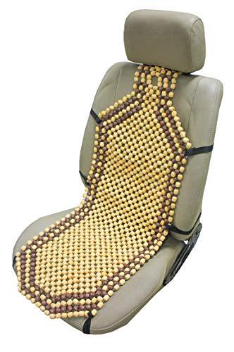ObboMed SW-7210 Natürliche Holzkugeln Auto-Sitzauflage, mit 10cm längerem Rückenteil für Schulterbereich, extra Starke Nylonschnur, angenehme Luftzirkulation und sanfte Massage - 132 x 38.5 cm