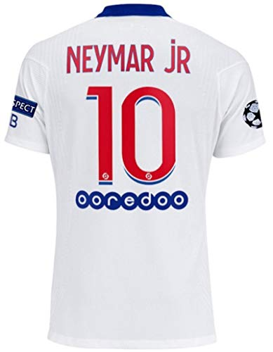 Paris 2020-2021 New Season #10 Neymar Mens Soccer Away Jersey & Armbands T-Shirts Color White