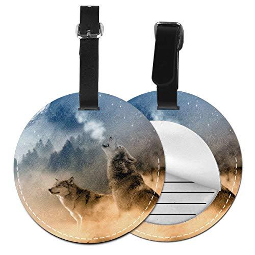 Tres mosqueteros lobos de cuero personalizado de lujo maleta etiqueta conjunto de accesorios de viaje redondo etiquetas de equipaje