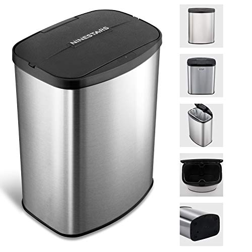 Ninestars Papelera de acero inoxidable para cocinas oficinas baño 8L automática
