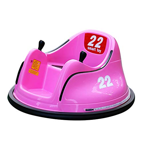 TIS_SUIT DIY Race Kids Toy Electric Ride On Bumper Car Vehicle Remote Control 360 Spin,Ride On Bumper Car Toy for Toddlers Aged 1.5+ 6V Battery-Powered with Light-Yellow (Pink)
